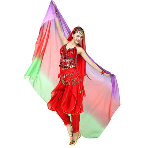 Gradient Veil Shawl Face Scarf Women Dance Belly Bollywood Costume Silk-like New