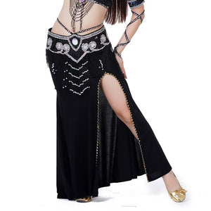 Sexy Professional Women Belly Dance Costume with Slit Modal Cotton Skirt Dress 7 colors