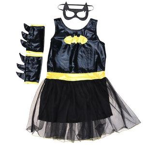 New Girls Halloween Cosplay Costume Props Set Black Bat Type Patchwork Mesh Bottom Dress with Cloak Wrist Sleeve Mask Clothes