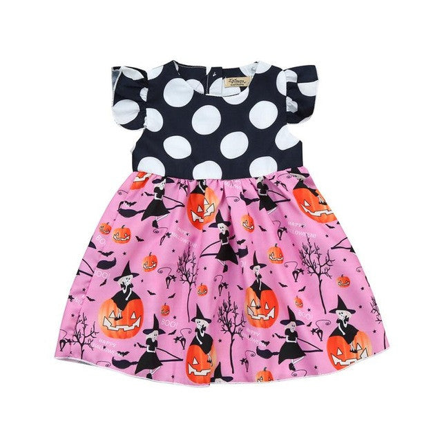 Toddler Baby Girls Halloween Pumpkin Cartoon Princess Dress Ruffles Sleeve 2017 Casual Kids Dresses for Girls Clothes Costumes