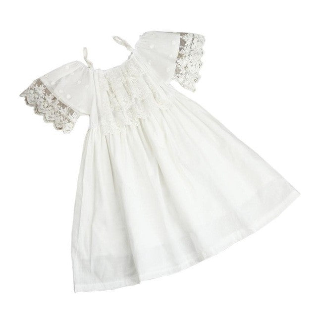 Baby Girls Princess Dress  Pageant Lace  Dresses Clothes Off-shoulder Dress Kids Shoulderless Party Wedding Formal Dress