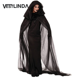 VESTLINDA Fancy Dress Cosplay Suit Witch Hooded Halloween Costume Supplies Club Party Dresses Women 2017 Autumn Maxi Black Dress