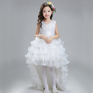 2017 New Girls Dress Detachable Tail Princess Wedding Dress Bow Party Kids Dresses For Girls Christmas Costume For Kids Clothes
