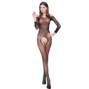 Women Sexy Mesh Lingerie Transparent Black Erotic Bodysuit