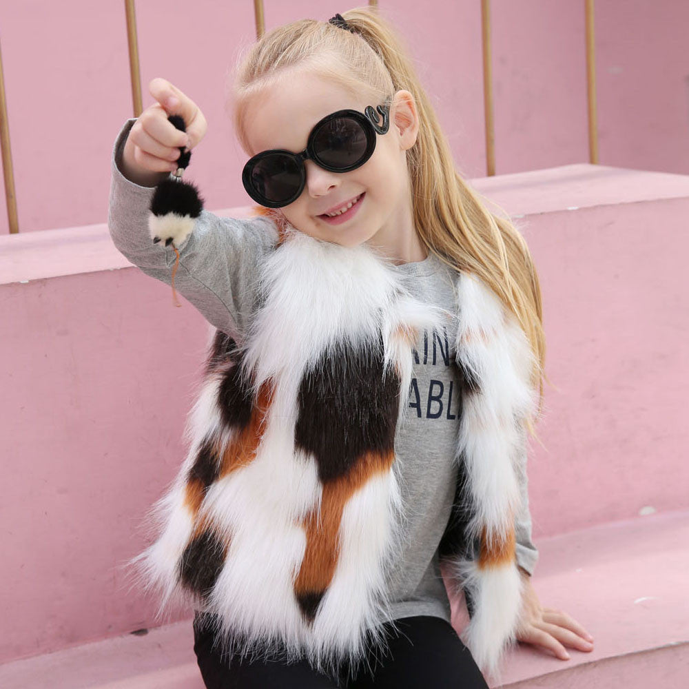 Kid Girl Autumn Winter Vest Faux Fur Waistcoat Thick Coat Warm Outwear Girls Clothes children clothing drop ship #M