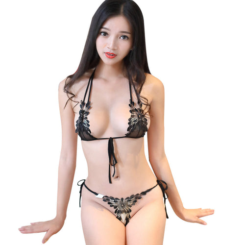 Women Sexy Hollow Out Lingerie Lace Set Underwear