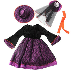 2017 Girl Witch Dress + Hat Cap Princess Party Dresses Halloween Girl Cosplay Witch Dress Hat Costumes Magic Fancy Cool Outfits