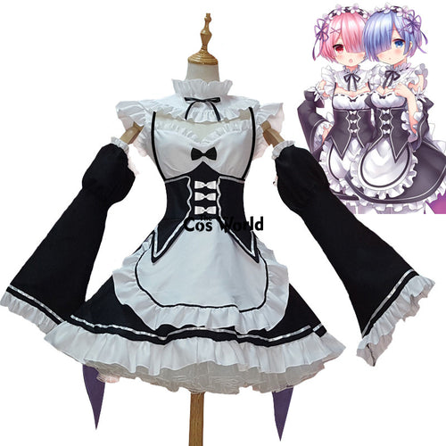 Re Zero Kara Hajimeru Isekai Seikatsu Ramu RAM Remu REM Maid Apron Dress Outfit Uniform Anime Cosplay Costumes