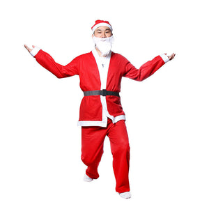 5 Piece Christmas Santa Claus Costume Adult Set
