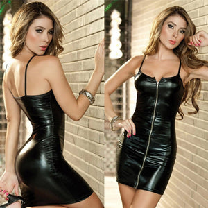 Women Sexy Suspenders Zipper Costumes Underwear Erotic Sexy Lingerie PU Sleepwear Latex Slim Fit Short Dress