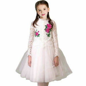 Girls Wedding Dress with Embroidered Flower Brand Christmas Dress Girls Costume White Lace Princess Party Dresses Kids Clothes