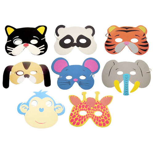 10Pcs Cute Animal Design Masks Soft EVA Cover Kindergarten Festival/Birthday Party Costume Zoo Dress Up Game Masks Random Type