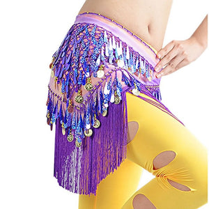 New Belly Dance Gradient Tassel Triangle Costume Hip Scarf Tribal Triangle Tassel Belt&Gold Coins green Belly Dancing