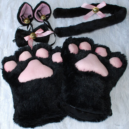 1 Set Cat Animal Ears Plush Paw Claw Gloves Tail Ribbon Anime Cosplay Costumes 5 Colors Free Shipping