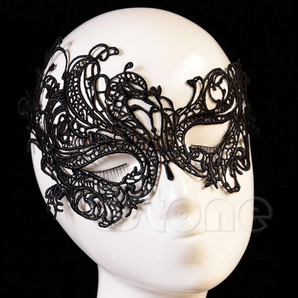 Vintage Black Sexy Women Elegant Prom Party Dress Lace Eye Face Mask Masquerade