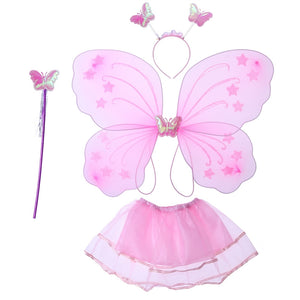 4pcs Girl's Butterfly Costume Set Tutu Skirt with Butterfly Wings Headband and Fairy Magic Wand Kids Performance Party Costume
