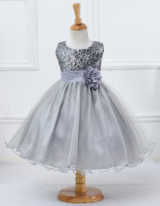 KEAIYOUHUO Christmas Dress Girls Clothes Sleeveless Sequins Princess Girls Flower Wedding Dresses For Kids Costume Toddler Dress