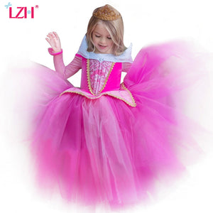 LZH Girls Sleeping Beauty Princess Party Dresses Children Fancy Rapunzel Dress Easter Carnival Costume For Kids Girls Clothing