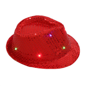 Unisex Flashing LED Hat Jazz Hats for Adult with Glitter Sequins for Party Costume