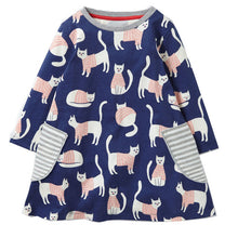 Ship From USA Princess Dress Animal Pattern Jersey Kids Dresses for Baby Girls Clothes Long Sleeve Children Costume Girls Dress
