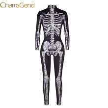 Chamsgend Halloween Skeleton Body Print Scary Costume Full Sleeve Long Pants Turtleneck Strech Cosplay Jumpsuit Bodysuit 7911