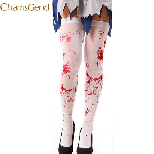 Chamsgend Women Realistic Blood Print White Stockings Tigh High Over Knee Lace Long Stocking For Halloween Nurse Cosplay 70912