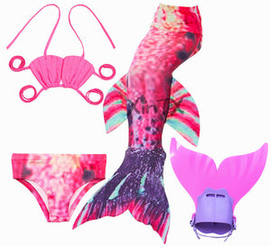 2018 NEW!Children Mermaid Tail with Monofin Kids Girls Costumes Swimming Mermaid Tail Mermaid Swimsuit Flipper for girls