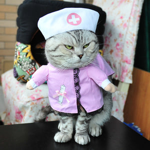 Funny Cat Clothes Costume Nurse Policeman Suit Clothing For Cat Cool Halloween Costume Pet Clothes Suit For Cat 27S1