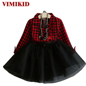2016 Fashion Girls Tutu Dresses Children's Costumes Sweet Spring Autumn Kids Girls Dress Plaid Full Sleeve Kids Outfits Vestidos