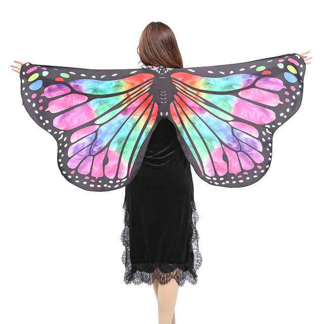 Chamsgend Women Girls Butterfly Wings Shawl Pashmina Poncho Fairy Ladies Nymph Pixie Party Dance Cosplay Costume Accessory 80117