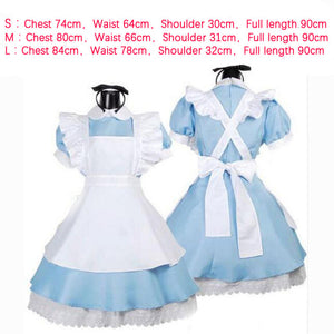 Halloween Women Adult Anime Alice In Wonderland Blue Party Dress Alice Dream Women Sissy Maid Lolita Cosplay Costume