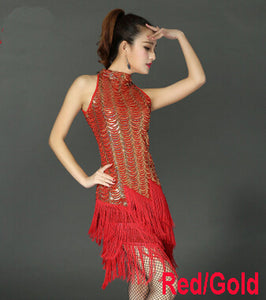 New Arrival Sequins Tassel Latin Dance Suits Costume women Fringe Ballroom Tango Samba Rumba Clothes latin dance sequins Skirt