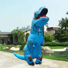 Funny Inflatable Dinosaur Trex Costume Suit Air Fan Operated Blow Up Halloween Cosplay Fancy Dress Animal Costume Jumpsuit--Blue Adult