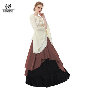 ROLECOS Renaissance Medieval Dresses Gothic Women Costumes Halloween Party Masquerade Costumes Long Dress for Party Weeding