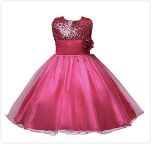 3-12y Summer Christmas cute flower Girls Dress sequined mesh Girl Clothing Sleeveless Princess Dresses Girl Costume Kids girls