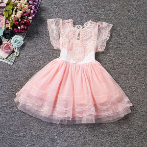 2018 Child Christening Summer Baby Girl Lace Dress Kids Ruffles Lace Tutu Dresses For Girls Princess Wedding Party Events Wear