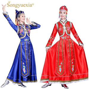 Songyuexia New Mongolian costumes women's wear Inner Mongolia dance costumes Mongolian gown adult minority costumes dress Female