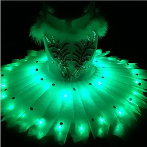 Children 's Ballet Dress - LED dance costumes gril swan ballet tutu skirt kid's dancing costumes 3 colors XXXS-XXXL Stage show
