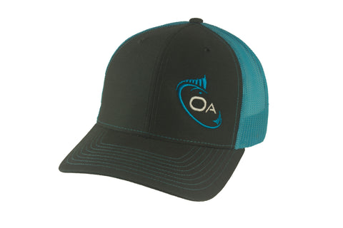 Trucker Hat (Grey, Aqua)