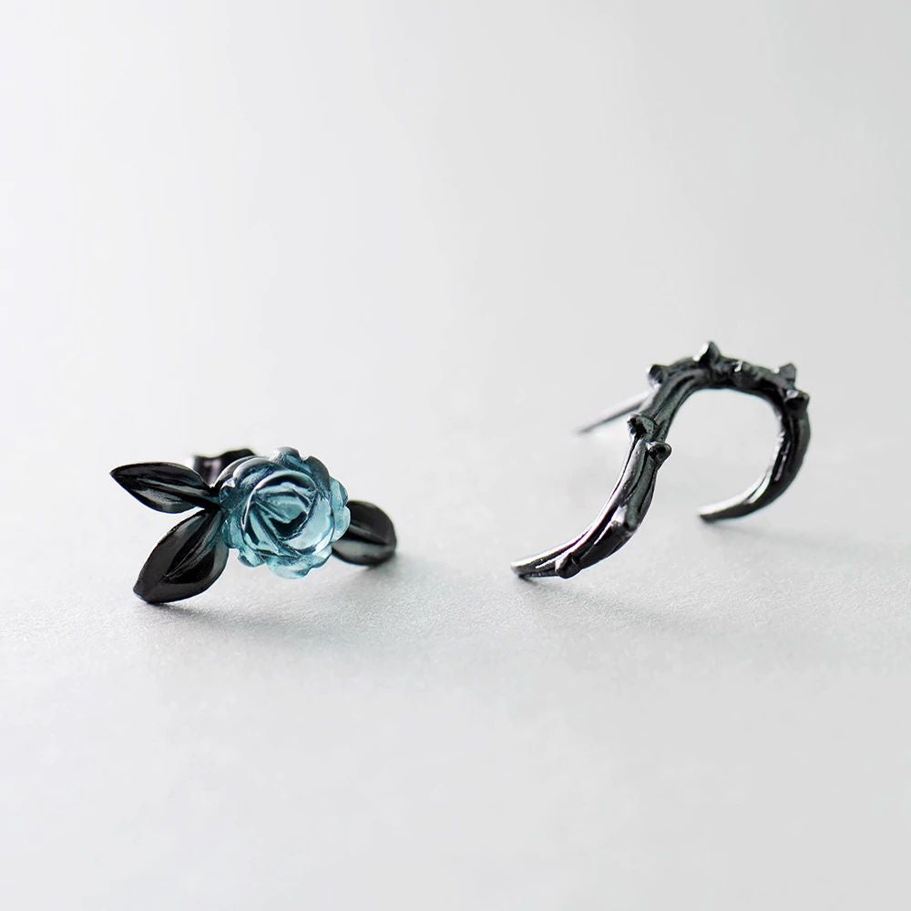 Black Frost Rose Earrings