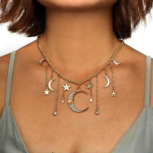 Splendid Moon & Stars Necklace