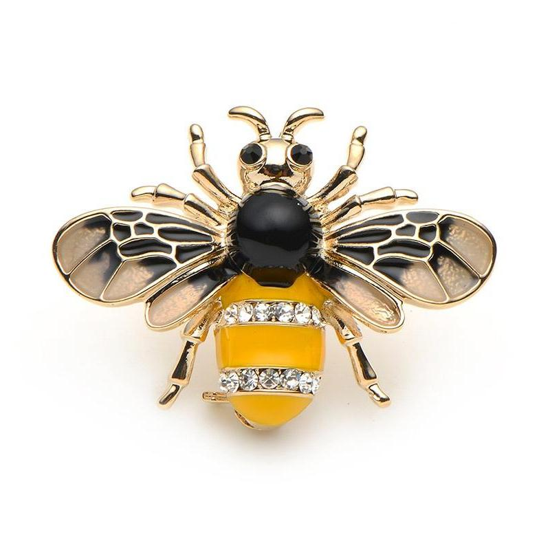 Bee Brooch with Enamel and Rhinestones