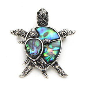 Turtle Brooch with Natural Sea Shell and Rhinestones