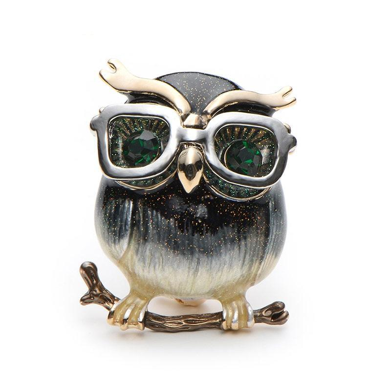 Owl Brooch with Enamel and Rhinestones