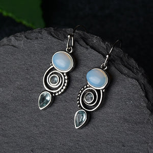 Blue Sea Moonstone Earrings
