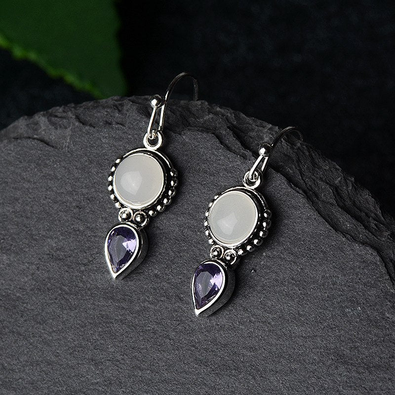 Inspired Tibetan Moonstone Earrings
