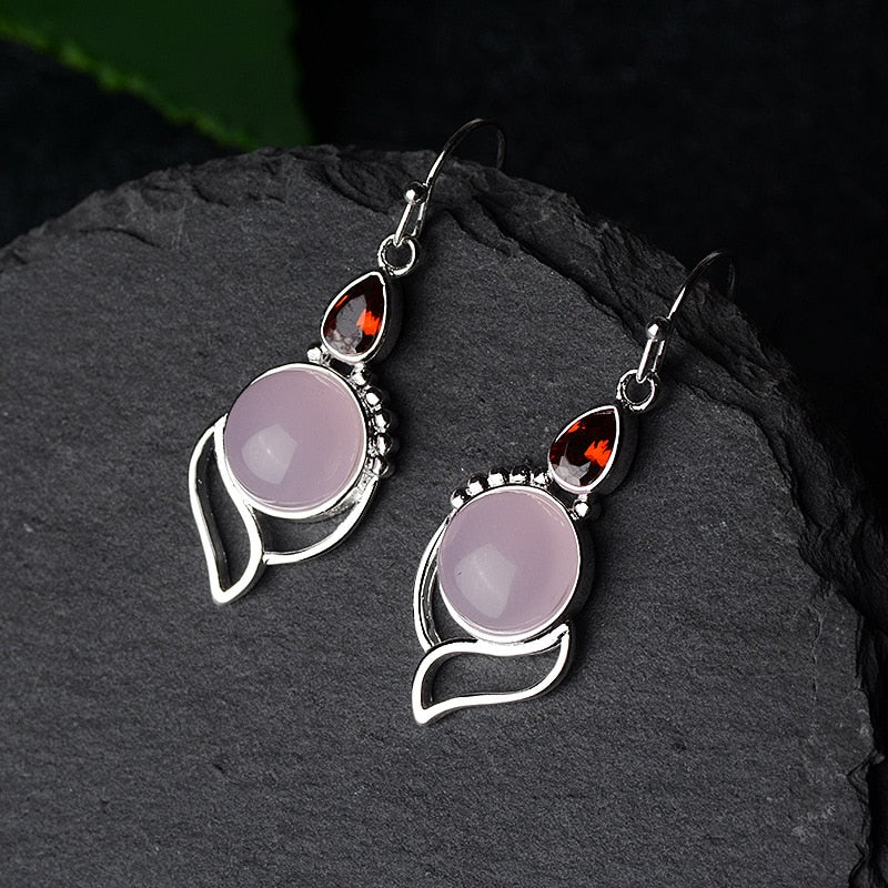 Pink Rose Moonstone Earrings
