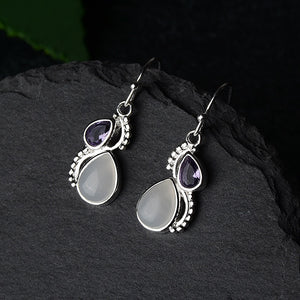Violet Teardrop Moonstone Earrings