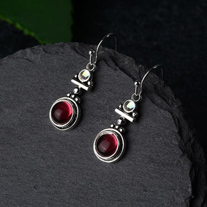 Red Crimson Moonstone Earrings