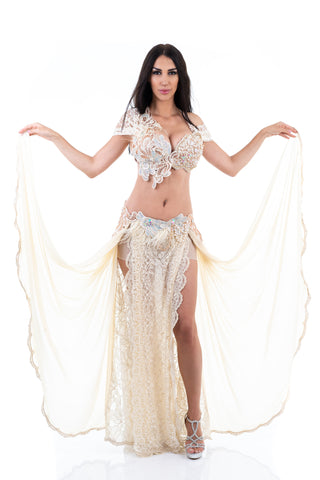 Bridal Dancer. Exclusive Bellydance White Costume. Front